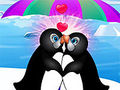 Peinguin kissing